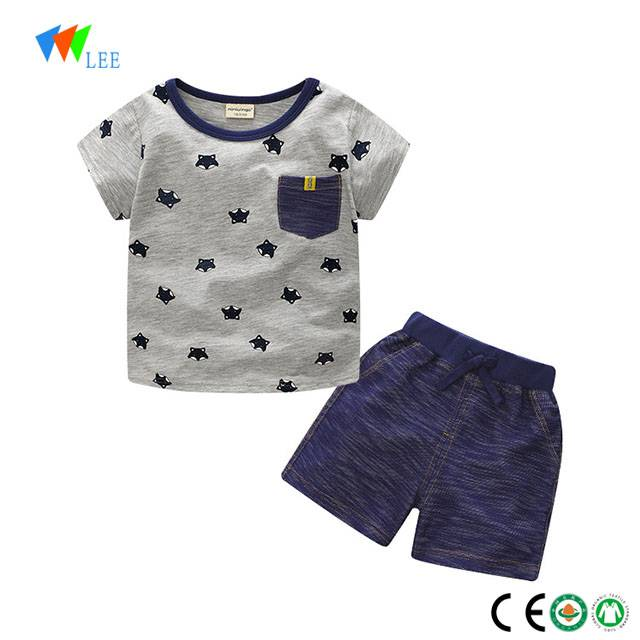 100% cotton wholesale baby boy clothes clothing set