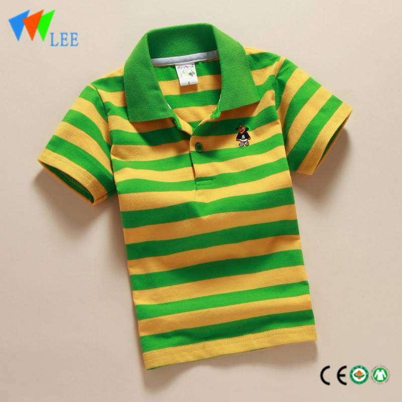 kids boys casual polo shirts wholesale short sleeve lapel bead cotton embrpidered Mr. frog stripe