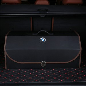 foldable car trunk organizer with handle and side pocket for vehicle storage