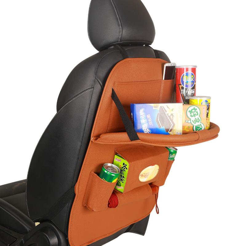 Car Backseat Organizer Car Organizer Back Seat PU Leather Car Seat Organizer for Kids for Car Trip with Folding Dining Table Featured Image