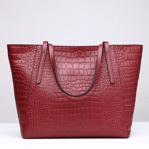 Leather Handbag-Crocodile skin-67045D-red