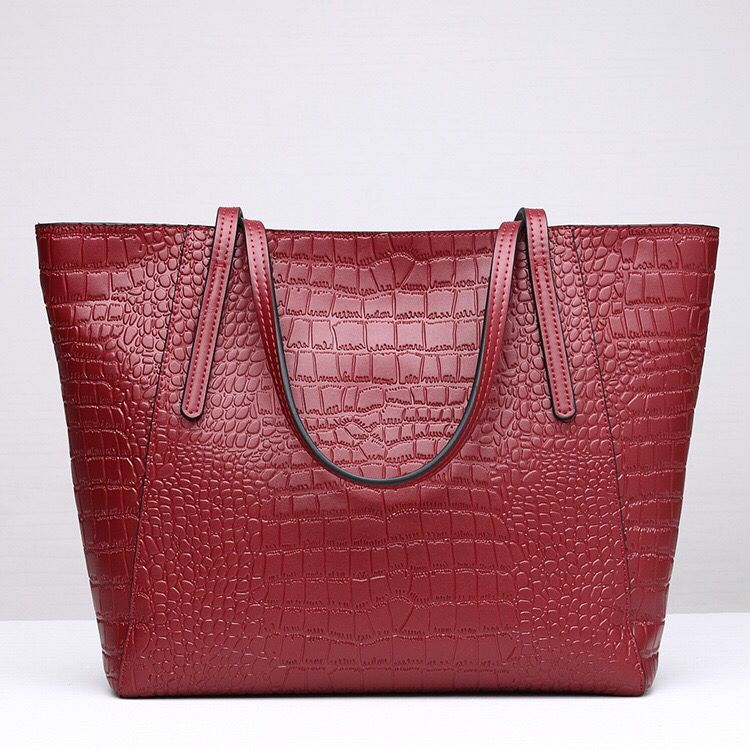 Leather Handbag-Crocodile skin-67045D-red Featured Image