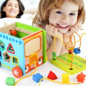 Multi-function bead string wooden toys child 1-3 years old educational