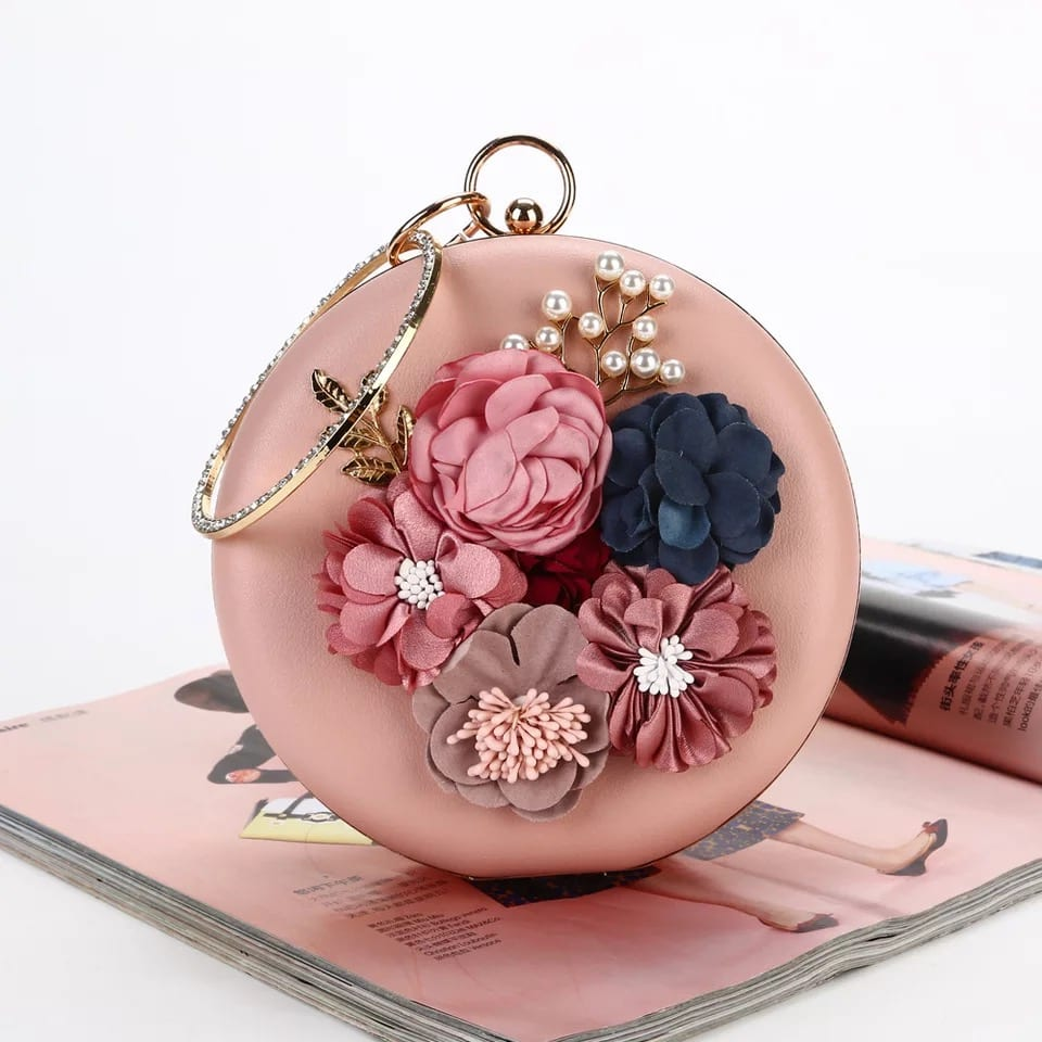 China Steel Mill Vintage Leather Suitcase - Banquet Handbag-Flower handbag-Round bag-pink – Zhongxi