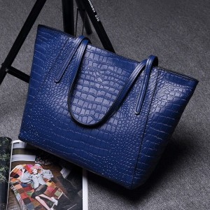 Leather Handbag-Crocodile skin-67045D-Blue