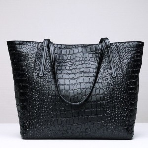 Leather Shoulder bag-Crocodile skin-67045D-Black