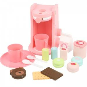 Baby wooden toy girl play house afternoon tea coffee machine birthday cake powder 3-6 years old