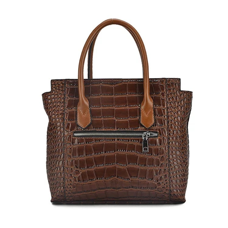 Corrugated Gl Steel Sheet Duffle Bag Travel - Leather Handbag-Crocodile skin-67039D-brown – Zhongxi