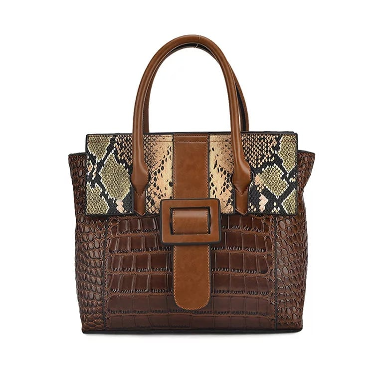 Steel Mill In China Wood Box Suitcase - Leather Handbag-Crocodile skin-67039D-brown – Zhongxi detail pictures