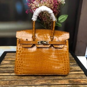 Tin Plate Steel Luggage Trolley Bags - Leather Handbag-Crocodile skin-67045D-yellow – Zhongxi
