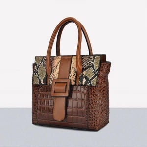 Leather Handbag-Crocodile skin-67039D-brown