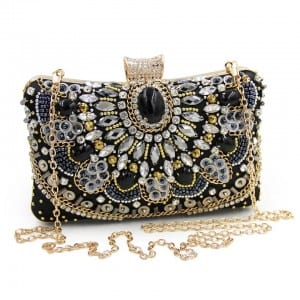 Laminated Steel Rivet Fringed Cosmetic Bag - Banquet Handbag-Crystal decoration handbag-B – Zhongxi