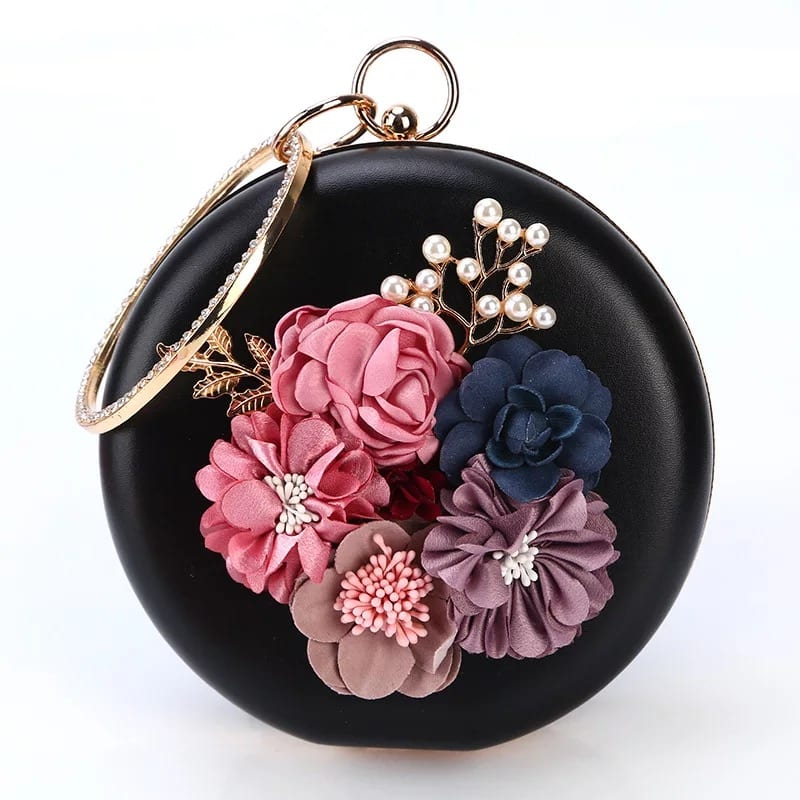 Alloy Roofing Sheet Fashion Leather Wallet burse - Banquet Handbag-Flower handbag-Round bag-black – Zhongxi