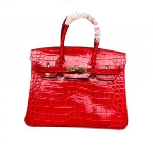 Bare Aluminum Steel Ladies Leather Wallets - Leather Handbag-Crocodile skin-67045D-red – Zhongxi
