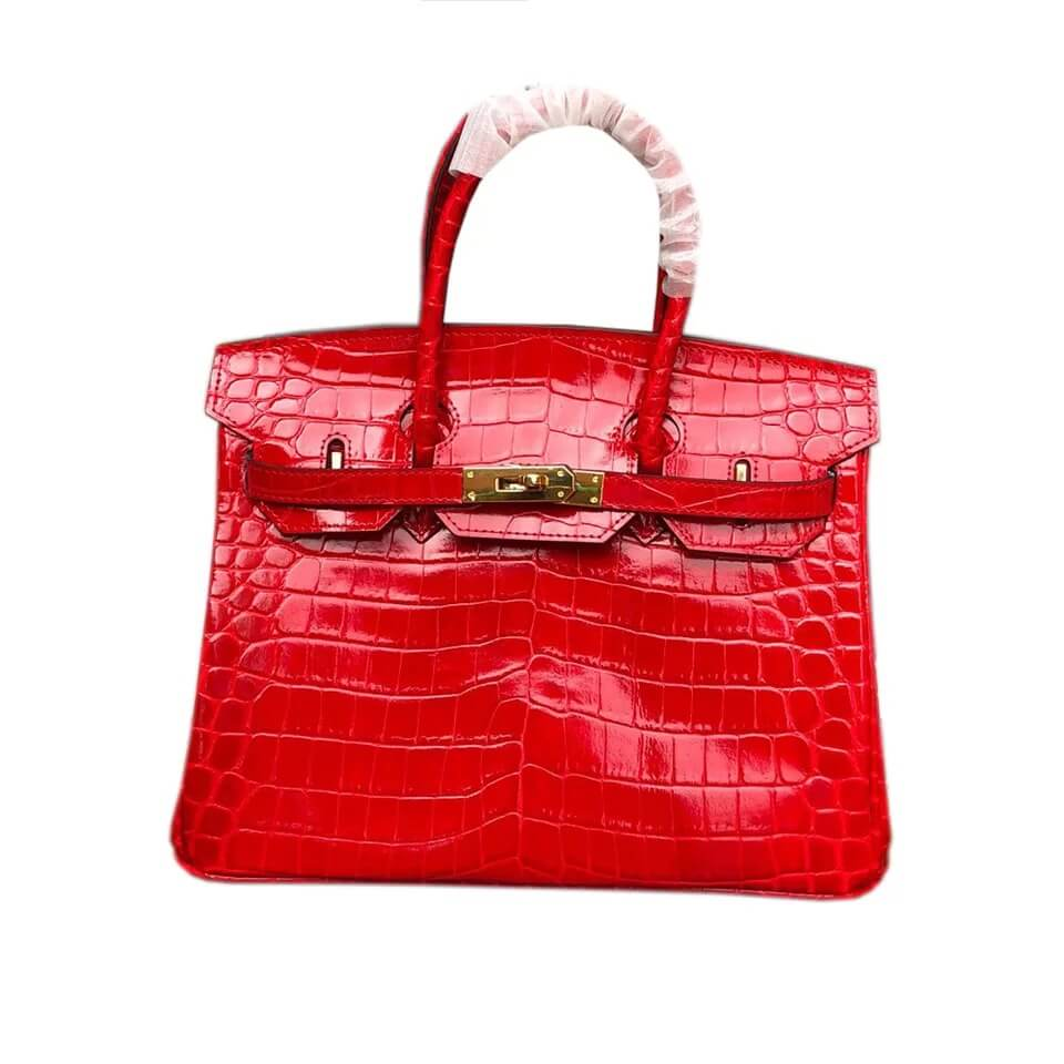 Gl Steel Strip Canvas Makeup Bag - Leather Handbag-Crocodile skin-67045D-red – Zhongxi Featured Image