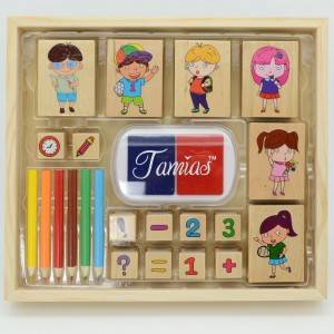 wooden toy  for children and pupils, boy and girl's stamp for drawing