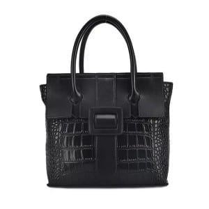 Leather Handbag-Crocodile skin-67039D-black