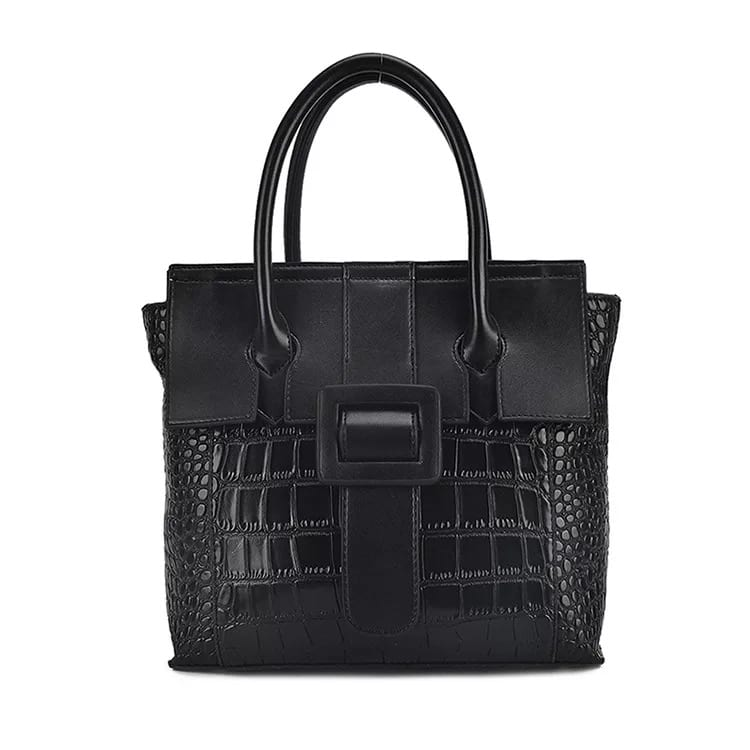 Corrugated Galvanized Steel Travelling bag - Leather Handbag-Crocodile skin-67039D-black – Zhongxi detail pictures