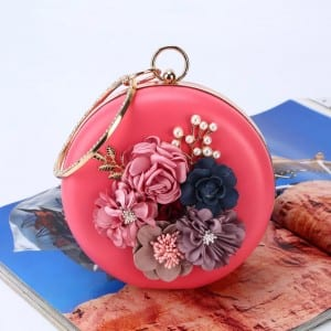 Banquet Handbag-Flower handbag-Round bag-red