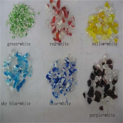Natural crushed glass for aquarium decoration