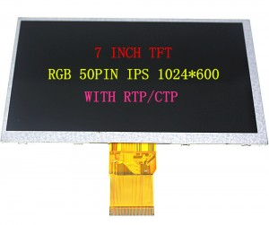 7.0′ TFT 1024X600 RGB IPS 50PIN WITH RTP/CTP