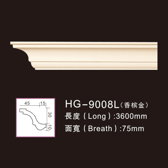 Lowest Price for Pu Fireplace Frame – PU-HG-9008L champagne gold – HUAGE DECORATIVE