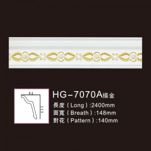 One of Hottest for Crown Moulding Polyurethan Ceiling - Effect Of Line Plate-HG-7070A outline in gold – HUAGE DECORATIVE