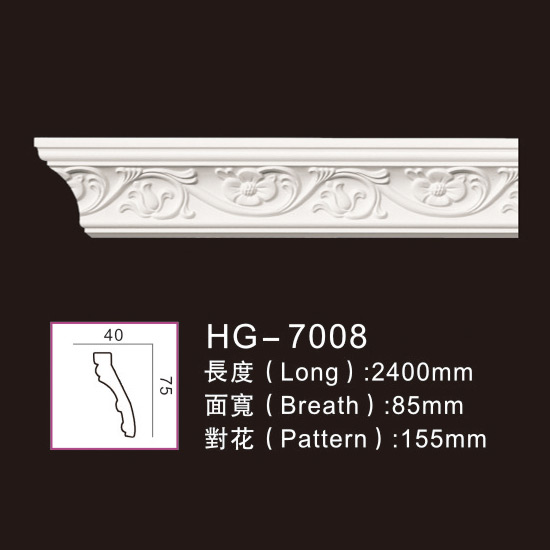 2019 High quality Pu Crown Corner Moulding - Carving Cornice Mouldings-HG7008 – HUAGE DECORATIVE