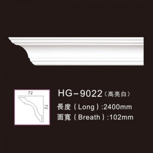 Chinese Professional Decorative Pu Crown Cornices Moulding - PU-HG-9022 highlight white – HUAGE DECORATIVE