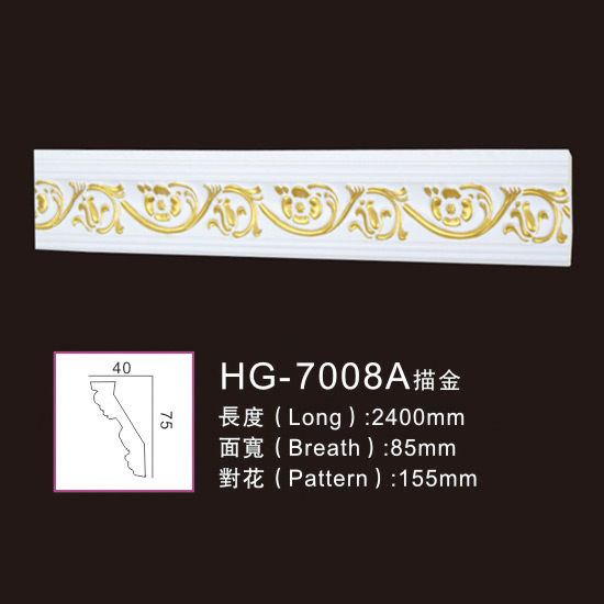 Popular Design for Ceiling Medallion Moulding - PU-HG-7008A outline in gold – HUAGE DECORATIVE