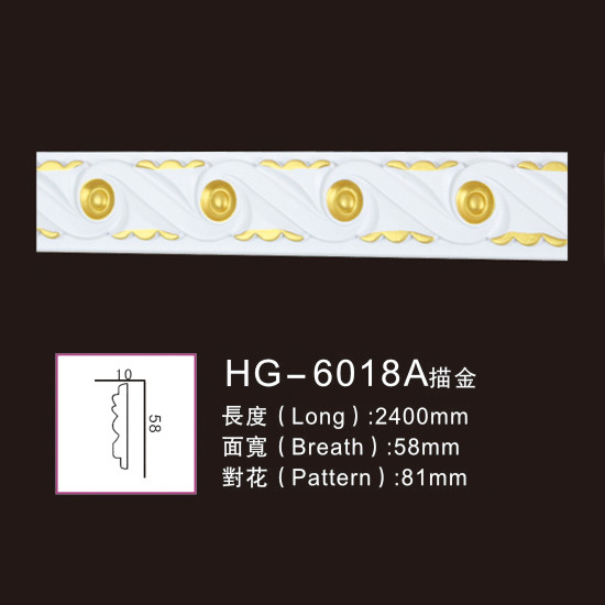 Top Suppliers Custom Design Polyurethane Foam Mouldings - Effect Of Line Plate-HG-6018A outline in gold – HUAGE DECORATIVE