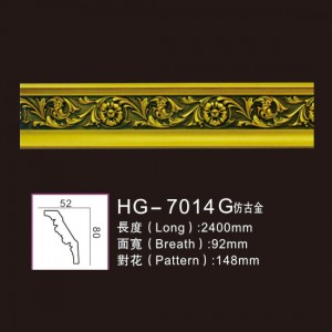 Discount Price Polyurethane Gypsum Cornice Mould Making - Effect Of Line Plate1-HG-7014G Antique Gold – HUAGE DECORATIVE