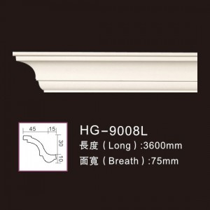 Best Price on Pu Cornice Crown Moulding Material - Plain Cornices Mouldings-HG-9008L – HUAGE DECORATIVE