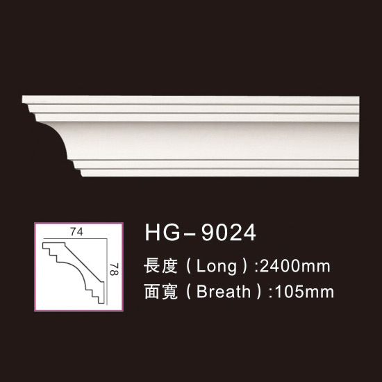 professional factory for Pu Moulding Polyurethane Moulding - Plain Cornices Mouldings-HG-9024 – HUAGE DECORATIVE