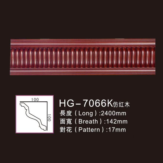 Best Price on Pvc Crown Moulding - Effect Of Line Plate1-HG-7066K Imitation Mahogany – HUAGE DECORATIVE