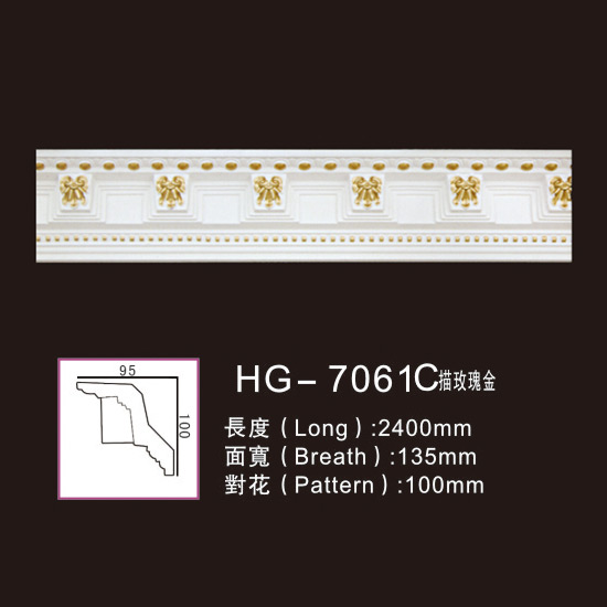 Best Price for PU Decorative Medallion - Effect Of Line Plate-HG-7061C outline in rose gold – HUAGE DECORATIVE