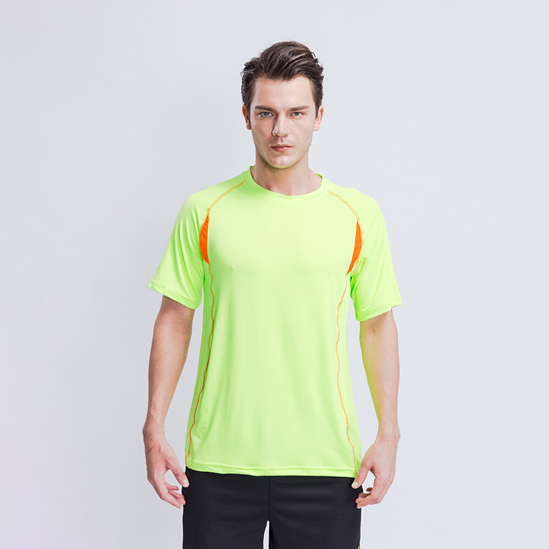 Wholesale Custom Polyester Spandex Fitness Blank T shirt Short Sleeve Mens and Women Plain Gym T-shirt