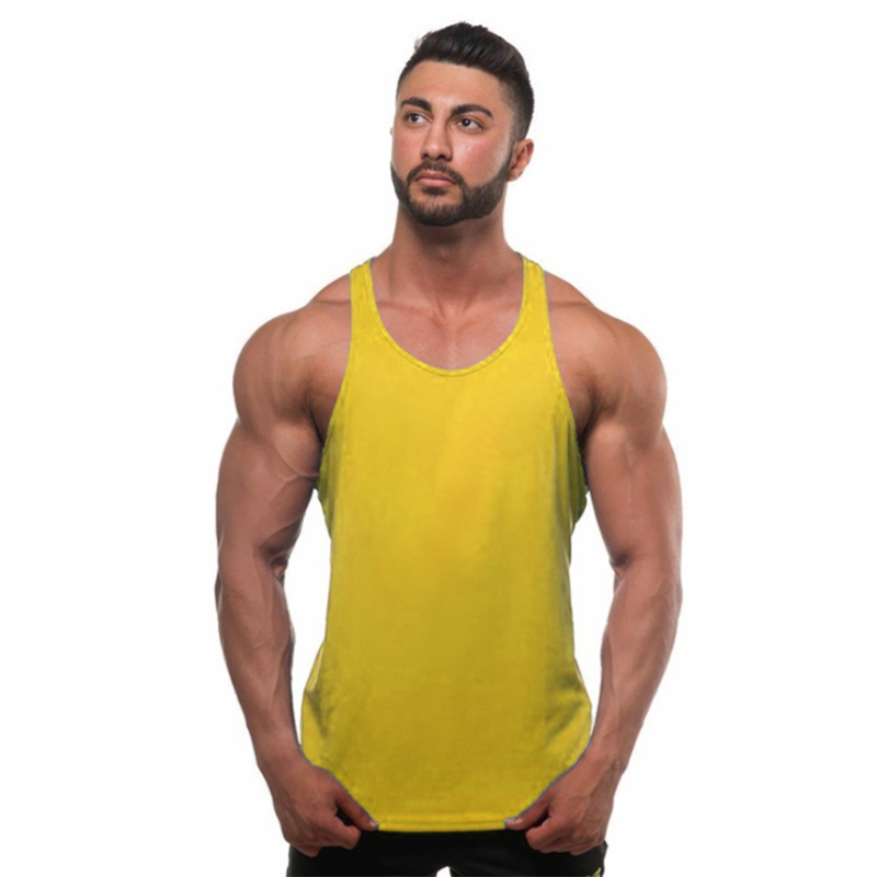 Cotton plain bodybuilding custom fitness vest sport tank top for men