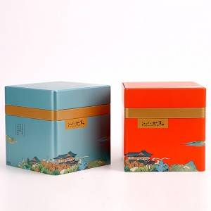 Tinplate gift box 14.5* 19.7cm  Customized Food Safety Tin Gift Box Cmyk Printed Tin Can