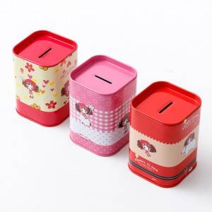 Tinplate gift box 7.5*7.5*10.5cm Apple Shape Candy Jar Mini Tin Can
