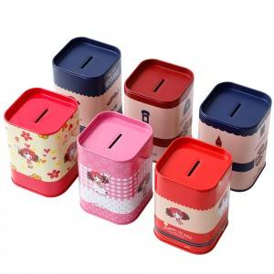 Tinplate gift box 7.5*7.5*10.5cm Easy Open Lid Printed Rectangular Food Grade Tin Can