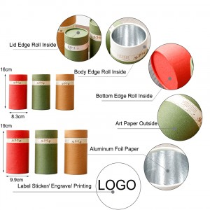 Round Shape paper box 9.9*19CM 8.3*16cm Food Packaging Canisters Food Grade Tubes Food Grade Paper Tube