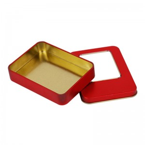 Tinplate gift box 11.5cm x 8.5cm x 2.2cm Xin Jia Yi Packaging  Square Shape Chocolate Tin Container For Cheese Cake Tin Box