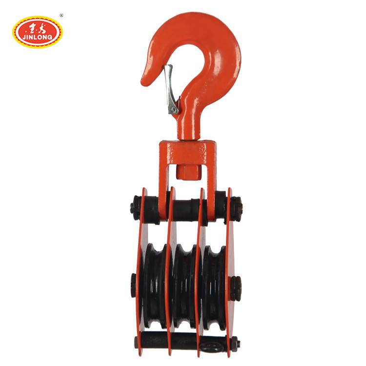 retractable three-wheel triple pulley snatch block for steel cable wire rope