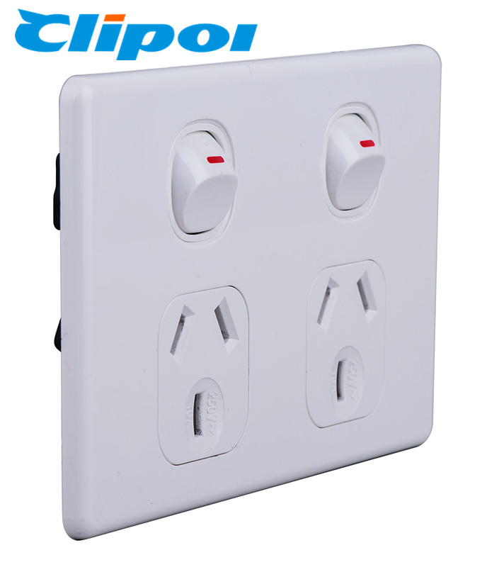 Australia standard  250V 10A Double GPO Slimline power points socket