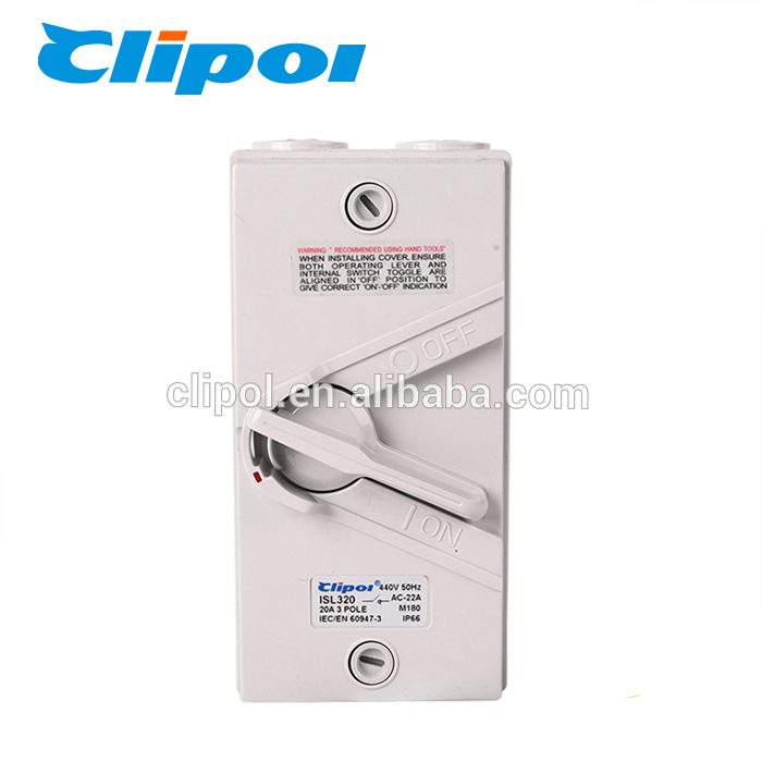 ISL320 Clipol PC wholesale outdoor using IP66 20A isolator switch 3 phase