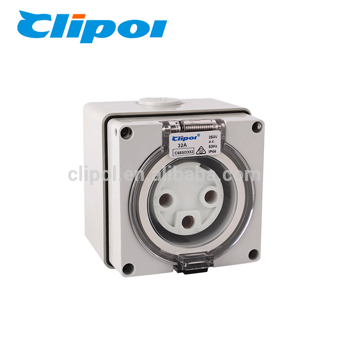 Electric socket outlet polycarbonate industrial 3 pin 32 amp explosion-proof socket outlet