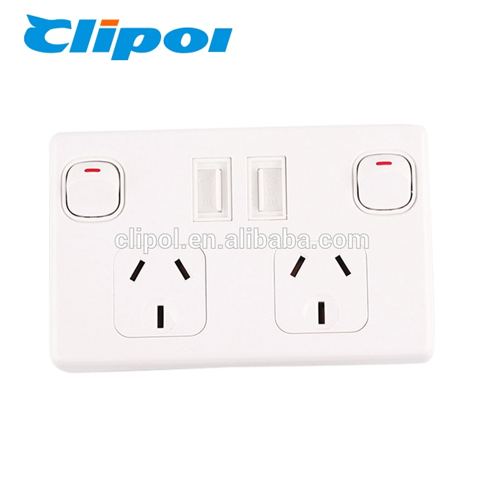 Usb outlet double port blue led universal mobile phone usb wall socket