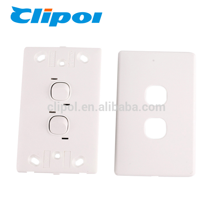Double Wall Power Switch White Plate GPO Outlet Slim Wall Light Switch