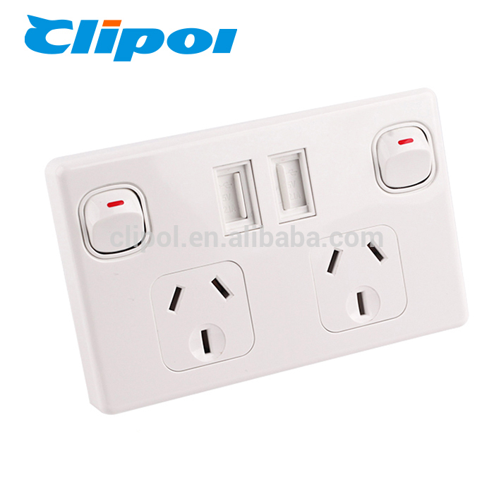 USB electrical outlet SAA AU multiple dual electrical universal wall socket usb charger